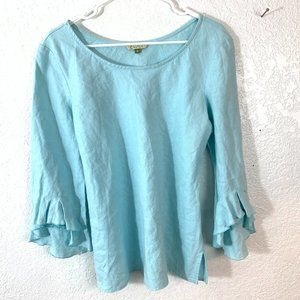 Chalet M 100% Linen Turquoise Top Bell Sleeves